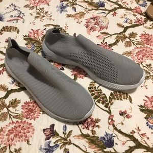Gray slip on sneakers